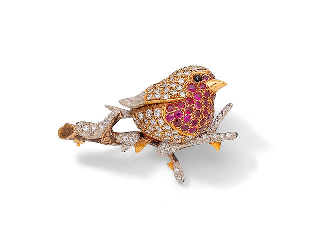 A ruby and diamond robin brooch, by E Wolfe and Co, 1970