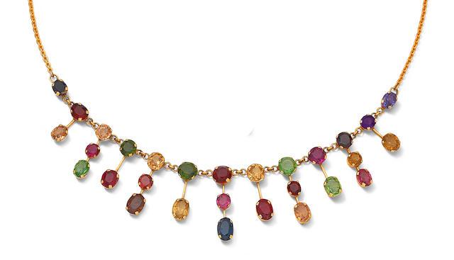 A coloured sapphire fringe necklace