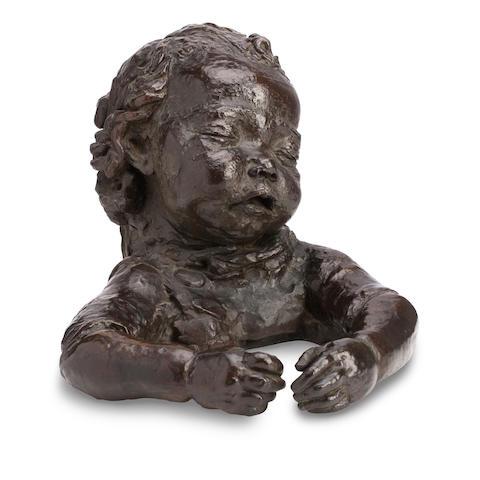 Sir Jacob Epstein (British, 1880-1959) Peggy Jean Asleep bronze, brown patina, 33cm long, 26cm high