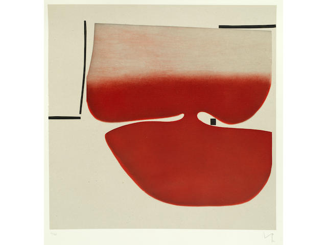 Victor Pasmore R.A. (British, 1908-1998) Senza Titolo (Red)  Etching and aquatint printed in colours, 1982, on Magnani, signed, dated and numbered 32/85 in pencil, printed by Vigna Antoniniana, Rome, co-published by 2RC Edizioni d'Arte, Rome and Marlborough Fine Art Ltd., London, with their blindstamps, with full margins, 790 x 790mm (31 x 31in)(PL)(unframed)