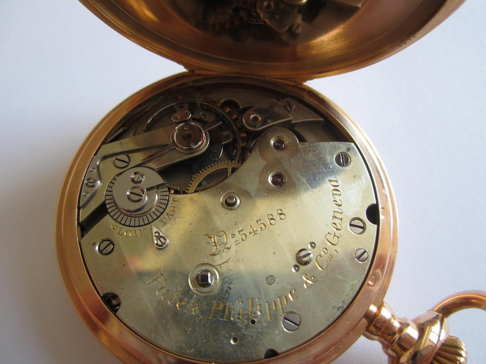 Patek Philippe. An 18K rose gold keyless wind half hunter pocket watch with Swedish armorial Case & Movement No.54588, Sold 22nd January 1885