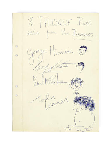 The Beatles: a rare set of large signatures by each member of the band with corresponding self-portrait caricature sketches,  circa October 1963,