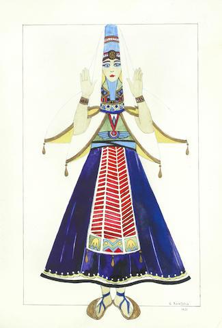 Salome / Natacha Rambova: a watercolour, ink and pencil concept costume sketch,