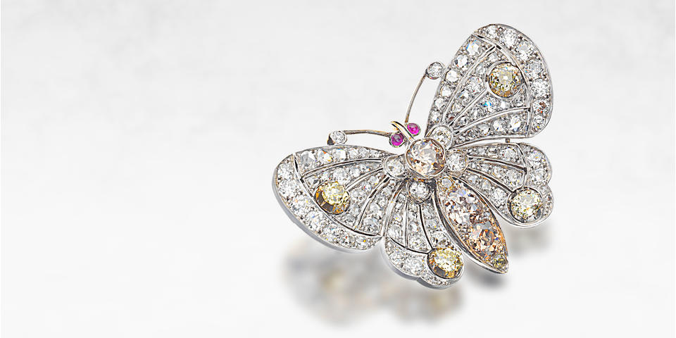 A diamond and ruby butterfly brooch, circa 1900