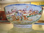 A famille rose 'European subject' punch bowl 18th century