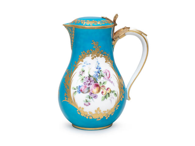 A rare Vincennes gold-mounted bleu céleste-ground water jug and cover, most likely made for Marie Josèphe, Dauphine of France, dated 1754 (date letter A)