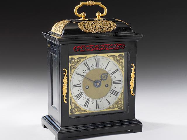 A late 17th century ebony veneered table clock with pull quarter repeat Joseph Knibb, London