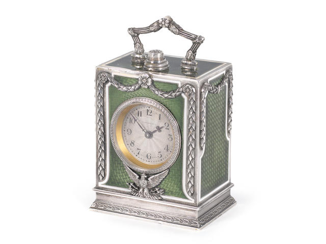 A fine and rare early 20th century silver and guilloche enamel minute repeating timepiece retailed by Tiffany and Co, the case numbered 89669