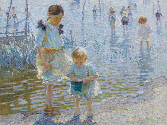 Dorothea Sharp, RBA, ROI (British, 1874-1955) Children playing by the shore