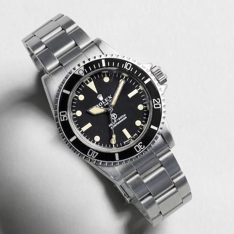 Rolex. A military issue stainless steel automatic bracelet watch Submariner, Ref:5513, Serial No.382****, Circa 1972