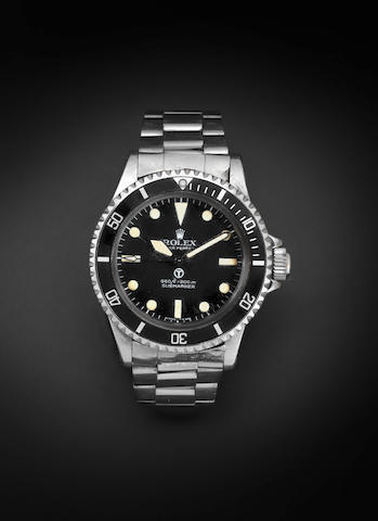 Rolex. A stainless steel military issue automatic bracelet watch Submariner, Ref:5513, Serial No.392****, Circa 1973