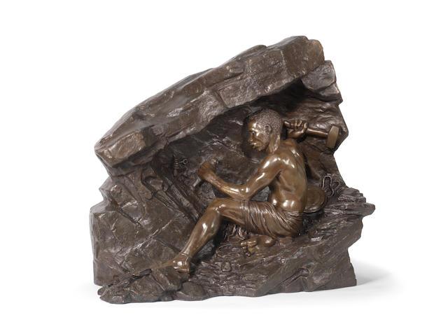 Anton van Wouw (South African, 1862-1945) The hammer worker 60 x 67 x 23cm (24 x 26 3/8 x 9 1/16in).