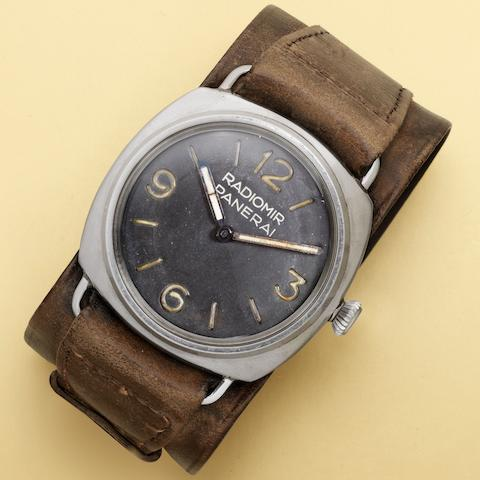 Rolex, made for Officine Panerai. A very rare stainless steel oversized military manual wind wristwatch Radiomir, Ref:3646, Serial No.101****, Circa 1940