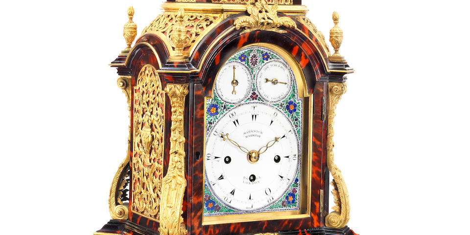 A fine and rare late 18th century ormolu mounted tortoiseshell musical table clock of small size Markwick, Markham and Borrell, London