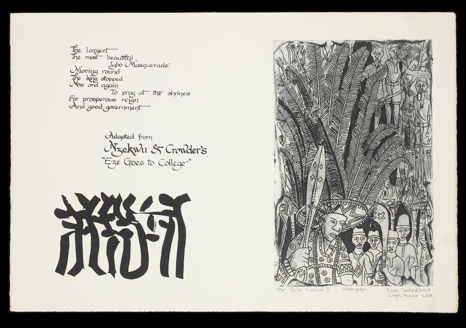 Bruce Onobrakpeya (Nigerian, born 1932) Portfolio of Art & Literature (2003): 27 etchings ((27))