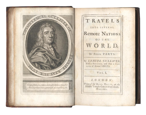 "SWIFT (JONATHAN) Travels into Several Remote Nations of the World ... by Lemuel Gulliver, 4 parts in 2 vol., FIRST EDITION, TEERINK'S ""A"", Benjamin Motte, 1726"