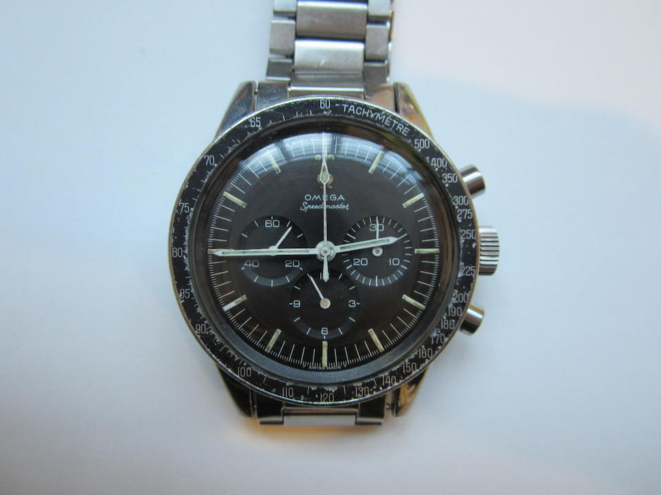 Omega. A stainless steel manual wind chronograph bracelet watch Speedmaster 'Ed White', Ref:ST105.003-65, Movement No.24066648, Circa 1965
