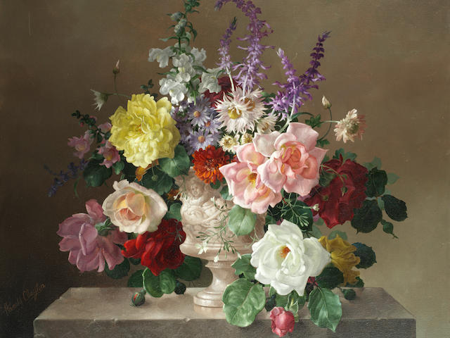 Harold Clayton (British, 1896-1979) Still life of flowers in a marble vase