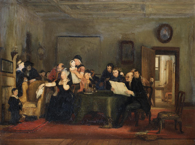 Sir David Wilkie, RA (British, 1785-1841) Reading the Will: Finished Sketch 30 x 37 cm. (12 x 14 1/2 in.)