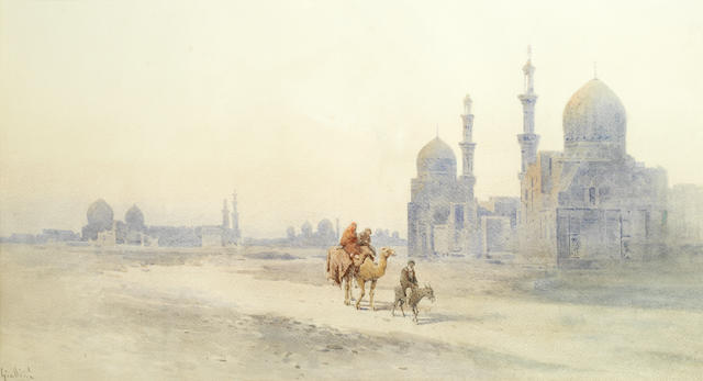 Angelos Giallina (Greek, 1857-1939) Mosques and minarets in a desert town 41 x 69.8cm (16 1/8 x 27 1/2in) (sheet size). unframed