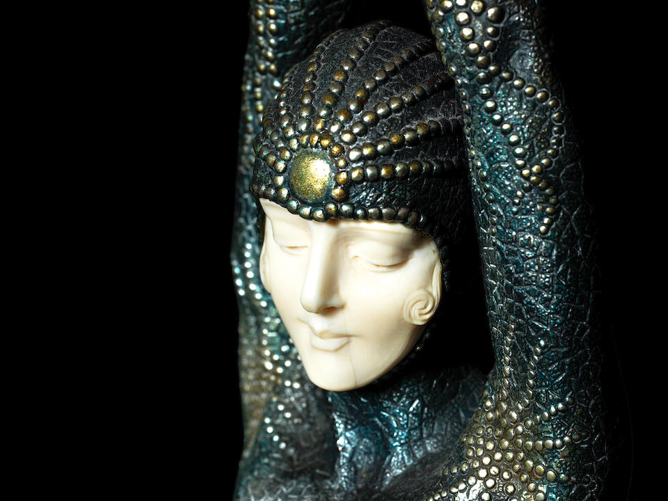 'Etoile de Mer' (Starfish) a Fine Art Deco Parcel-Gilt/Silvered Bronze and Carved Ivory Figure by Demetre Chiparus (Romanian, 1886-1947) SIGNED TO MARBLE 'D.H.Chiparus'; CIRCA 1925