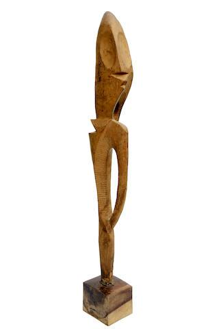 Ben Osawe (Nigerian, 1931-2007) Standing figure (abstract) 130 x 26 x 14.5cm (51 3/16 x 10 1/4 x 5 11/16in).