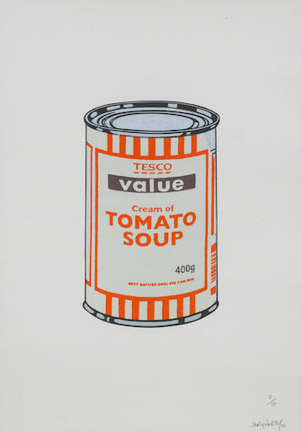 Banksy (British, born 1975) Soup Can (Mint/Orange/Brown) Screenprint in colours, 2005, on wove paper, signed dated and numbered 8/10 in pencil, printed and published by Pictures on Walls, London, with their blindstamp, the full sheet, in good condition Sheet 500 x 349mm.