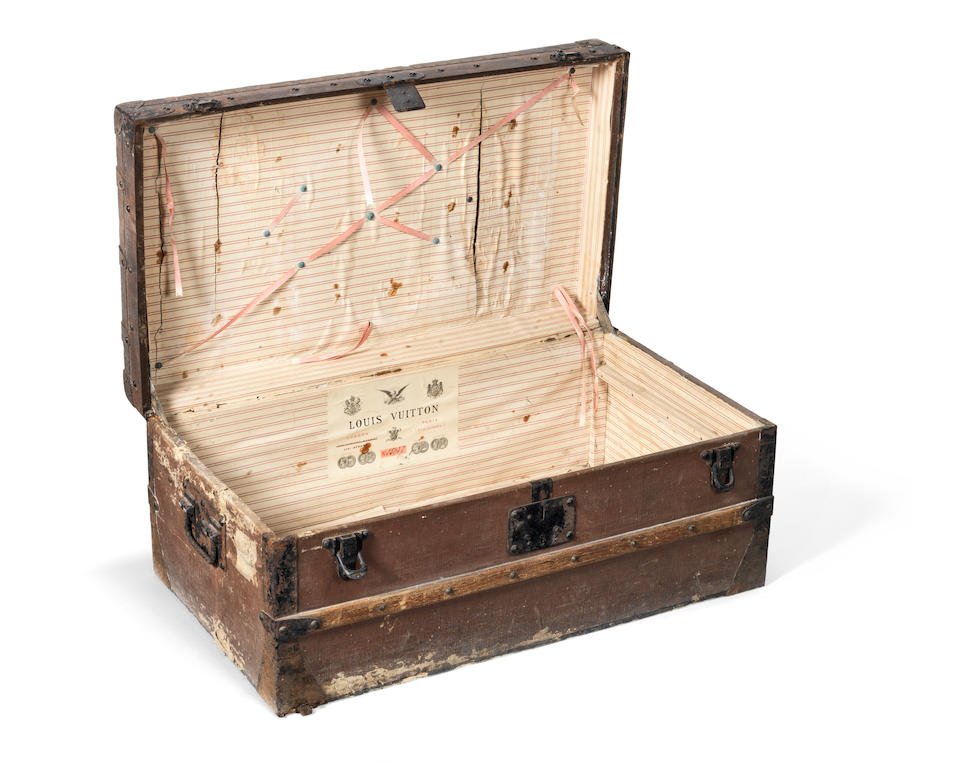 A late 19th century Louis Vuitton travelling trunk with provenance for Rear Admiral Sir John Hext (1842-1924)