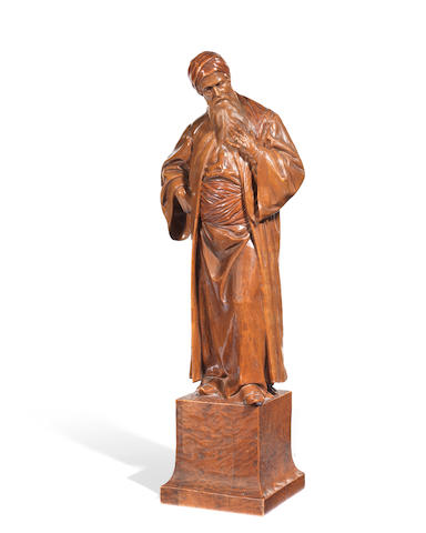 Adolf John (German 1858-1925): A carved 19th century boxwood figure of Saladin from 'Nathan the Wise'
