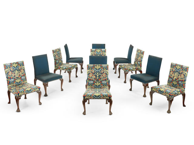 An important set of twelve George II carved mahogany dining chairs (12)