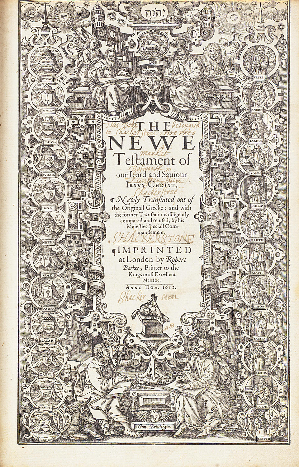 """BIBLE, IN ENGLISH, AUTHORISED VERSION [The Holy Bible, Conteyning the Old Testament, and the New], FIRST EDITION, FIRST ISSUE OF KING JAMES' GREAT """"HE"""" BIBLE, Robert Barker, 1611"""