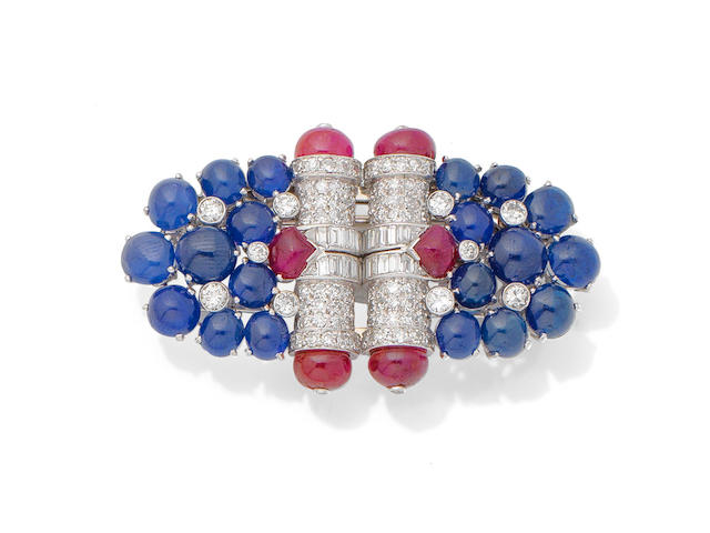 A gem-set double-clip brooch,
