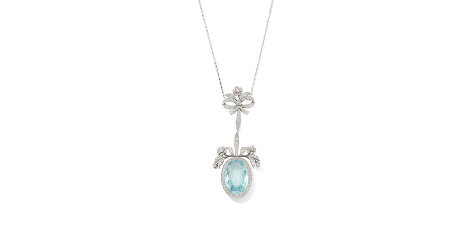 A belle époque aquamarine and diamond pendant/necklace, circa 1905