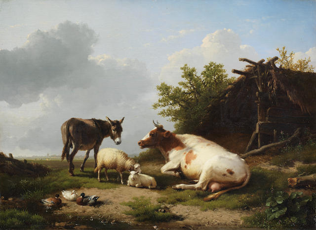 Eugène Verboeckhoven (Belgian, 1798-1881) Farm animals by a field shelter