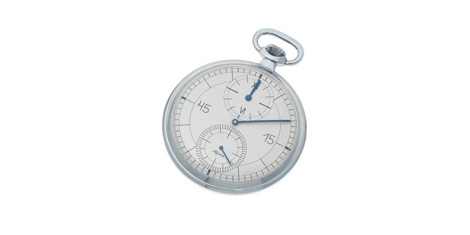 Alpina. A stainless steel keyless wind open face pocket watch