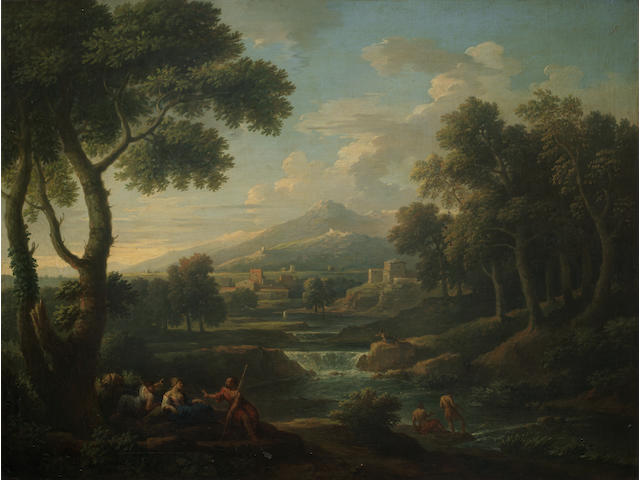 Jan Frans van Bloemen, called Orizzonte (Flemish, 1662-1749) An Italianate landscape with figures resting by a river