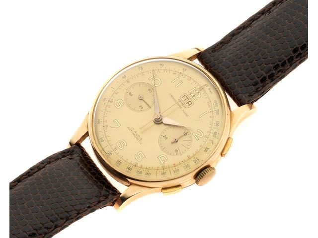 ITA, Chronographe Suisse. An 18K gold manual wind chronograph wristwatch