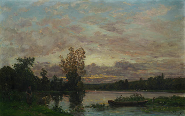 Hippolyte Camille Delpy (French, 1842-1910) Evening on the Loire