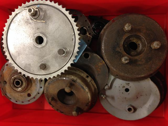 A large quantity of hubs, wheel spindles, brake plates and stays,  ((Qty))