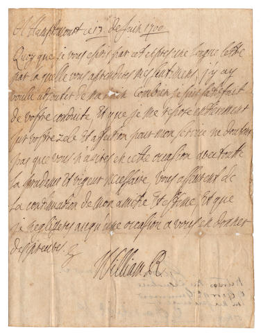"WILLIAM III Autograph letter signed (""William R""), in French, to the Duke of Queensberry, written as a postscript to a longer, official, letter, ""A Hamptoncourt ce 13 de Juin 1700"""