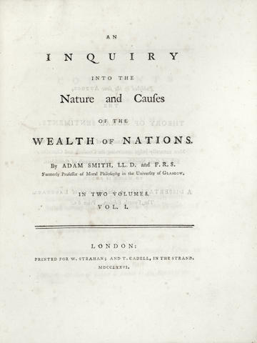 SMITH (ADAM) An Inquiry into the Nature and Causes of the Wealth of Nations, 2 vol., FIRST EDITION, W. Strahan, and T. Cadell, 1776