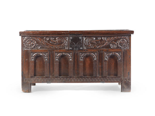 An Elizabeth I joined oak coffer, Gloucestershire, circa 1590