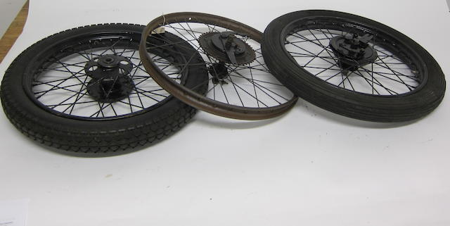 An assortment of wheel hubs and rims,  ((Qty))