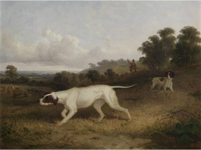 Attributed to Edmund Bristow (British, 1787-1876) Pointers in a landscape