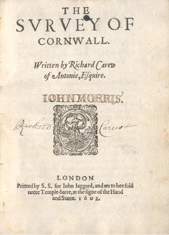 Bonhams : CORNWALL CAREW (RICHARD) The Survey of Cornwall
