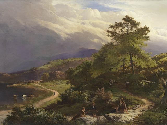 Sidney Richard Percy (British, 1821-1886) Figures resting in a mountain landscape
