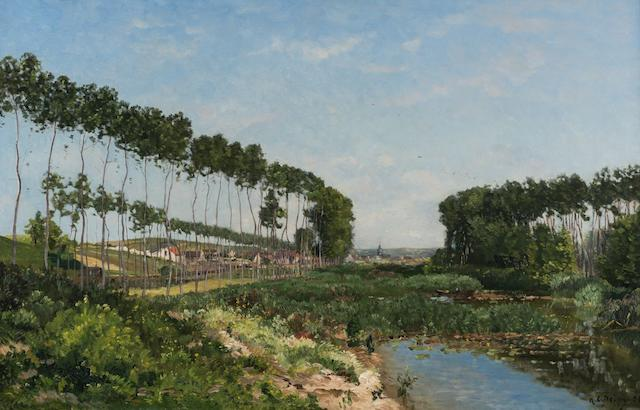 Hippolyte Camille Delpy (French, 1842-1910) A tree-lined river landscape, a village beyond