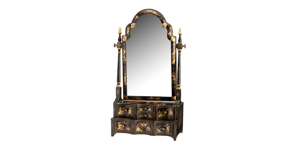 A 19th century Queen Ann style chinoiserie toilet mirror