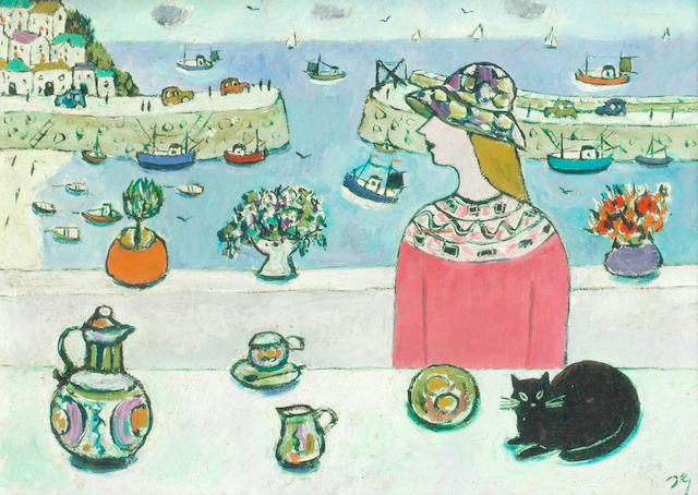 Joan Gillchrest (British, 1918-2008) Woman and cat overlooking Mousehole harbour (together with a copy of the book Joan Gillchrest by Gill Mitchell)
