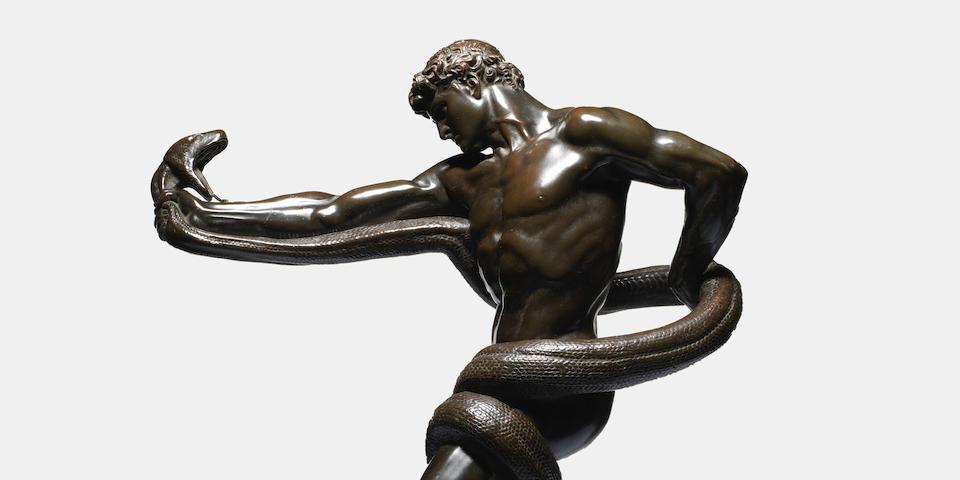 Frederic Leighton, 1st Baron Leighton P.R.A., R.W.S., known as Sir Frederic Leighton (British, 1830-1896): An important bronze figure of 'An Athlete Wrestling A Python'